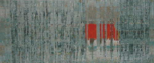 Feuerschiff Elbe, Collage, Acryl auf Papier, 2013